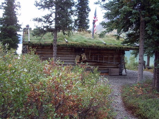 Twin Lakes log cabin with sod roof