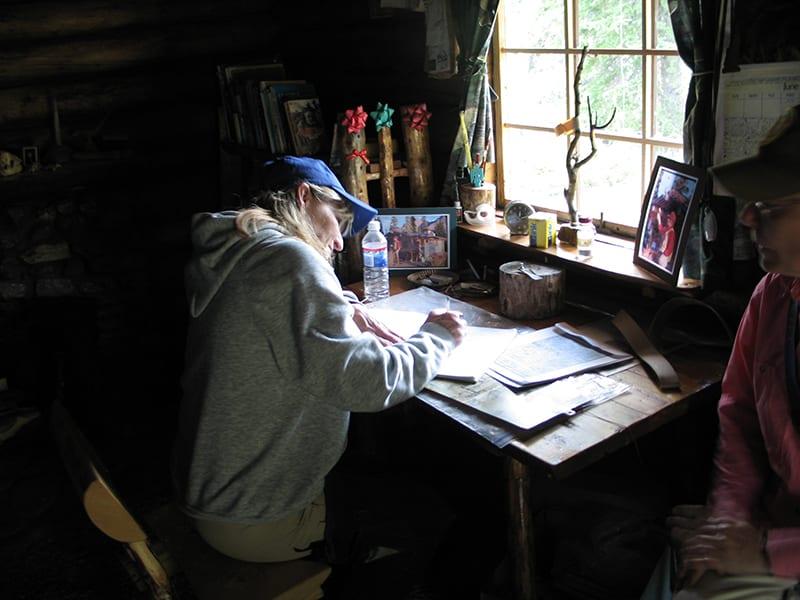 Writing desk inside Twin Lakes cabin