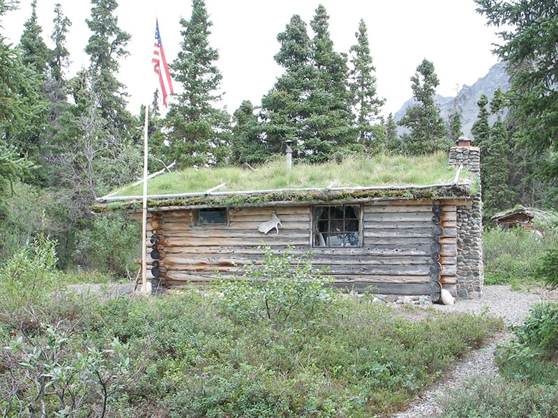 The American Flag flies at Twin Lakes Cabin