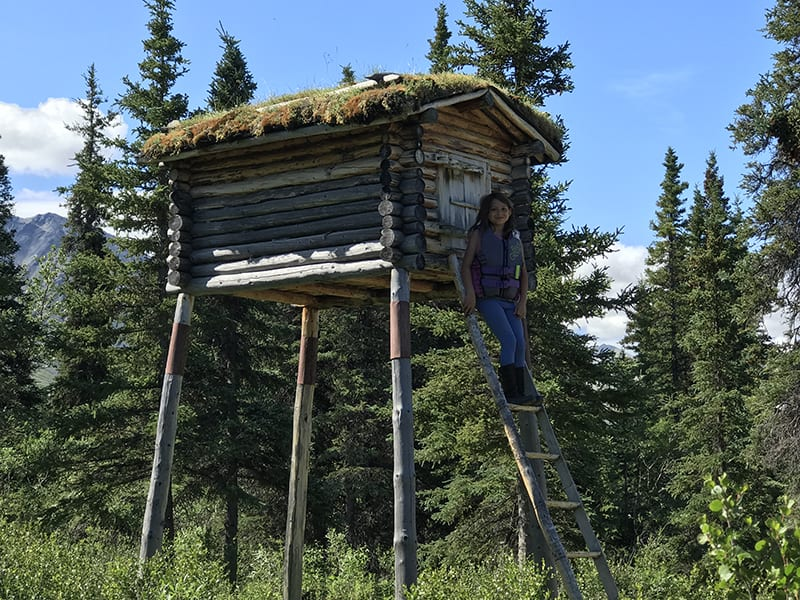 Elevated food storage at Twin Lakes Cabin