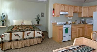 Studio lodging includes full kitchen